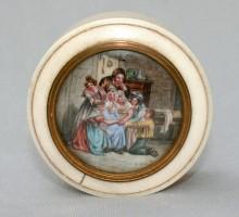 Boite en ivoire avec miniature, XIXe siècle