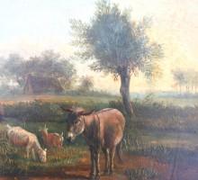 ecole belge, vers 1820, cheval, ane et chevres 2