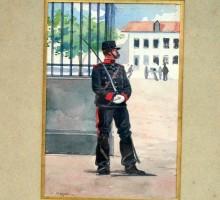 Aquarelle Monge, militaire montant la garde (1)