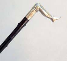 canne casse tête bronze argenté jambe (1)