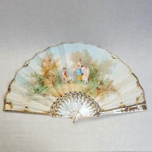 Eventail 1890 peint gouache (1)