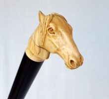 canne pommeau ivoire signé, tête de cheval (1)