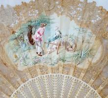 Eventail dentelle et peinture signée Derber (2)