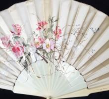 Eventoil gouache sur satin, fleurs (2)