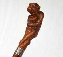 Canne singe bois sculpté (1)