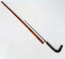 Canne-dague poignée corne piqué d'os (1)