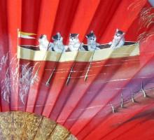Eventail les chats en bateau vers 1900 (1)