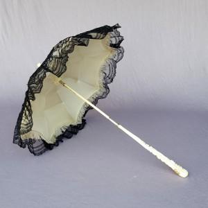 Ombrelle ancienne ivoire or dentelle 1860 (5)
