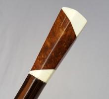 Canne Art Déco bois de loupe, ivoire, palissadre (1)