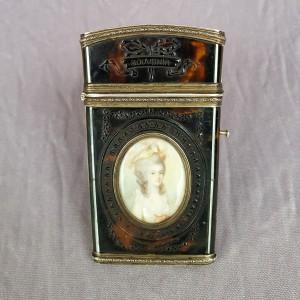 Etui souvenir d'amitié XVIIIe siècle, écaille, miniatures (1)