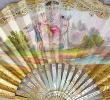 Éventail 1820, Psyché et Heros, cheval corail rubis turquoise (7)