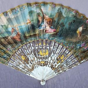 Eventail XVIIIe siècle, «Actéon et Diane» (1)