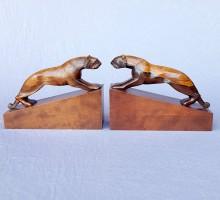 Serre livres Art Déco tigre bois sculpté, Signés Dan Karner Paris (1)
