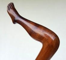 Canne bois sculpté jambe pied (1)