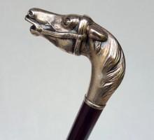 Canne casse-tête cheval bronze argenté (1)