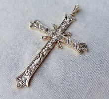 Croix pendentif diamants or et platine (1)