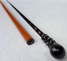 Canne épée XIXe lame bleuie pommeau corne et pointe d'ivoire (1)