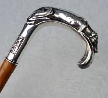 Canne Art Déco pommeau argent levrier (1)