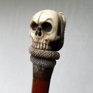 Canne mémento mori ivoire XIXe (1)