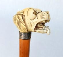 Canne XIXe siècle pommeau chien ivoire (1)
