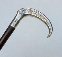 Canne style Art Nouveau pommeau argent (2)