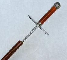 Canne épée à garde pommeau argent lame Tolède (1)