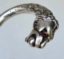Canne pommeau lion argent (6)