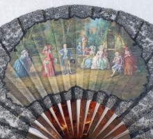 Eventail fin XIXe siècle, écaillle, gouache, dentelle (5)